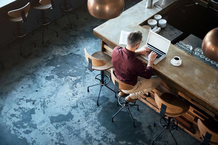 Working inside a coffee shop