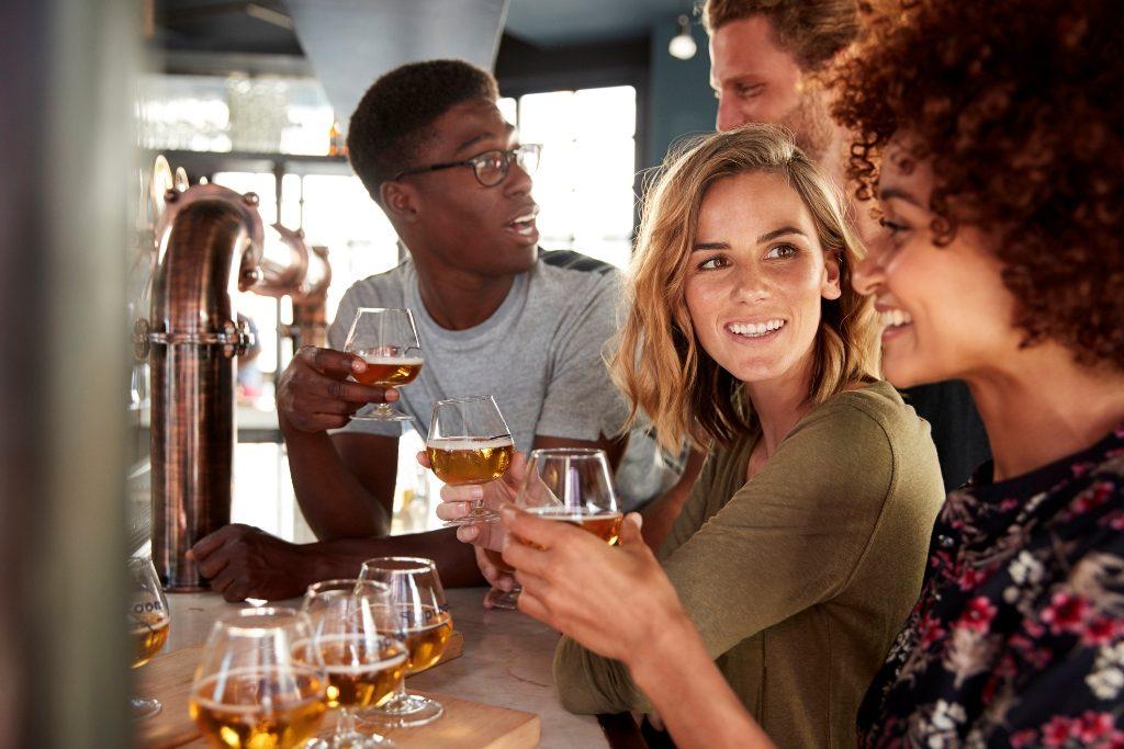 Friends enjoying their beer